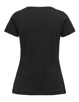 Camiseta ONLLILA LIFE FIT S/S GLITTER TOP BOX - Negro