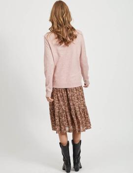 Jersey VIRIL O-NECK L/S  KNIT TOP - NOOS VILA - Rosa