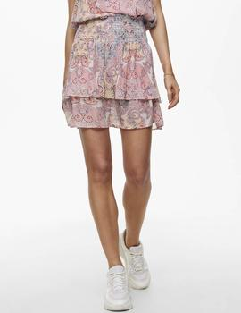 Falda ONLALLY SMOCK LAYERED SKIRT WVN ONLY - Rosa