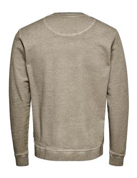 Sudadera ONSKATHAN SLIM CREW ONLY&SONS - Beige