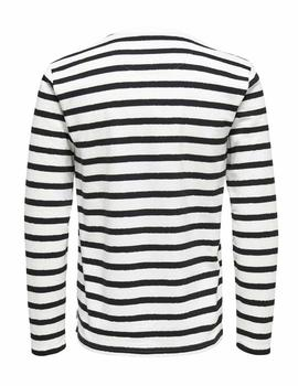 Camiseta M/L onsNEAL STRIPED Only&Sons - Blanco y Negro