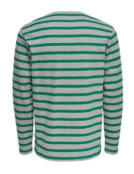 Camiseta M/L onsNEAL STRIPED Only&Sons - Gris jasp/Verd