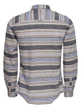 Camisa onsCAIDEN LS STRIPED Only&Sons - Marrón/Rayas