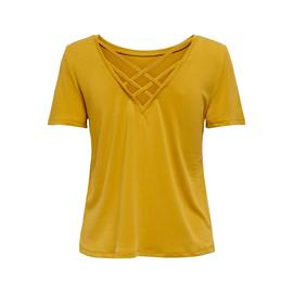 Camiseta ONLFREE LIFE S/S CROSS BACK TOP ONLY -Amarillo