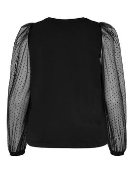 Top ONLMONNA L/S DOT TOP JRS ONLY - Negro