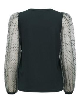 Top ONLMONNA L/S DOT TOP JRS ONLY - Verde Oscuro