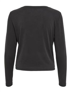 Top ONLFREE LIFE L/S TWIST SHORT TOP JRS - Negro