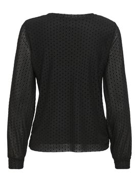 Top ONLLUNA NEW L/S MESH LOOSE TOP JRS - Negro