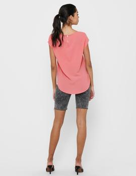 Camiseta ONLVIC S/S SOLID TOP NOOS WVN ONLY - Rosa