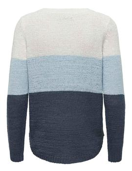 Jersey ONLGEENA L/S BLOCK PULLOVER KNT NOOS - Azul