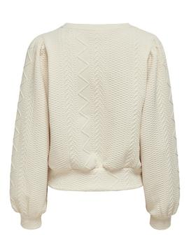 Sudadera ONLCABLE L/S O-NECK SWT ONLY - Blanco